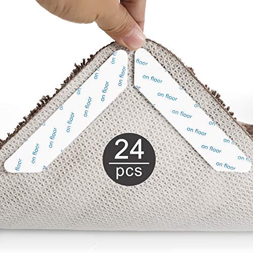 Suny Smiling Alfombrilla antideslizante para alfombras, 24 unidades, lavable, antideslizante, reutilizable, adhesivo fuerte