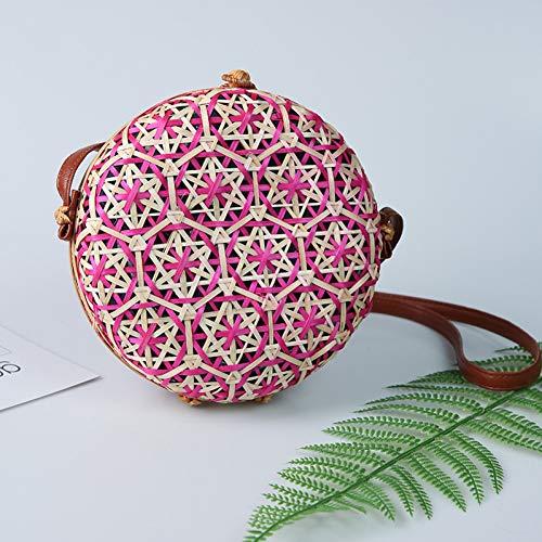 PCBDFQ damestas nieuwe ronde stroh strandtas cirkel rotan tas vrouwen handtas kleurrijk bloemenpatroon vrouwen bericht schoudertas