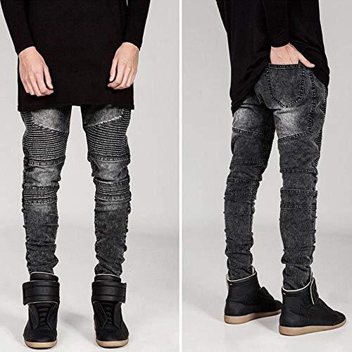 Herren Jeans Runway Slim Racer Biker Jeans Ankunft Skinny Jeans Für Herren 30 Grau