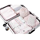 PROMUN Travel Packing Cubes, 6 Set Luggage Organizer with Laundry Bag, Luggage Compression