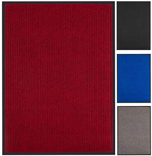 Praknu Schmutzfangmatte 90 x 150 cm Rot - Waschbar - Robust - Rutchfeste Fußmatte für Innen Außen