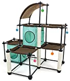 Kitty City Claw Mega Kit Cat Furniture, Cat Feeding Colletion, Cat Condo Collection, Cat Toy, Cat Tree, Mega Kit-Green, 3 levels, Model Number: SPO-0587