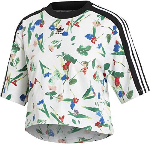adidas Cropped AOP Tee T-Shirt Donna Bianca ED4742 Bianco 40
