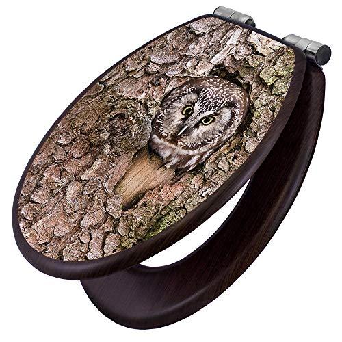 banjado Toilettensitz mit Absenkautomatik | WC-Sitz mit Motiv Eule | Toilettendeckel MDF Holzkern | Klodeckel mit Metall Scharnieren