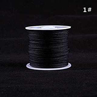 RUNGAO 1 Roll 45M Nylon Cord Thread Chinese Knot Macrame Bracelet Braided Cord 0.8MM Black