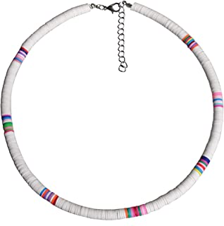 Surfer Choker Boho Jewelry Lightweight Colorful African Vinyl Disc Beads Necklace for Women Girls