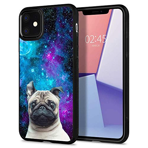 iPhone 11 Case with Howling Wolf Pack Pattern Customized Design Bumper Soft TPU and PC Protection Anti-Slippery Personalized Custom Case for iPhone 11 (Galaxy Nebula Pug, iPhone 11)