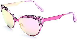 Dama gafas de sol, Diseño de calado Flor de las mujeres de moda Marco Retro Ojo de Gato Protección UV Gafas de sol Mujeres Conducción al aire libre Viajes Gafas de sol de mujer, ( Color : Púrpura )