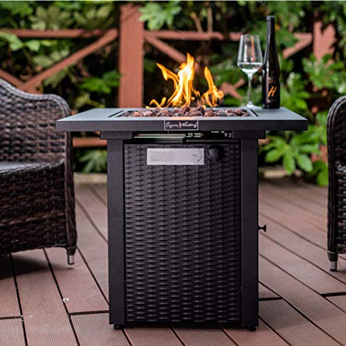 LEGACY HEATING 28-Inch Wicker Square Propane Fire Pit Table Gas Square...