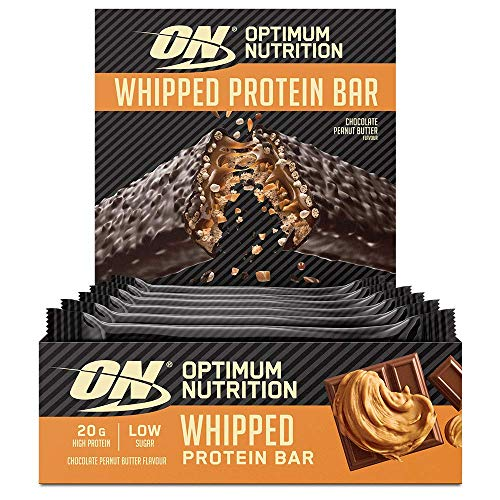 Optimum Nutrition ON Whipped Bar, High Protein Snack with Milk Chocolate Coating, Low Sugar Protein Bar, Chocolate Peanut Butter, 10 x 62 g Pack