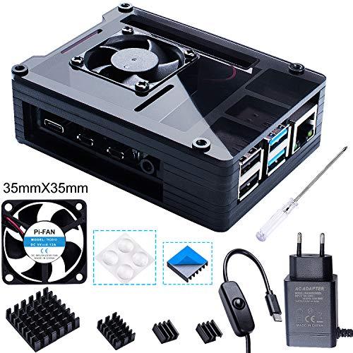 Bruphny Caja para Raspberry Pi 4 con 35mm Ventilador + Cargador de 5V / 3A USB-C + 4 X Disipador Compatible con Raspberry Pi 4 Modelo B (Gran Ventilador y Disipadores)-Negro