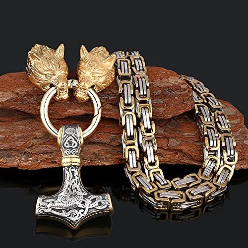 Serired Collar con Colgante Martillo Vikingo Thor, Collar Cadena Nordic Odin Celtic Wolf King, Joyería Regalo Amuleto Pesado Acero Inoxidable Vintage para Hombre,Mixed Gold,60cm