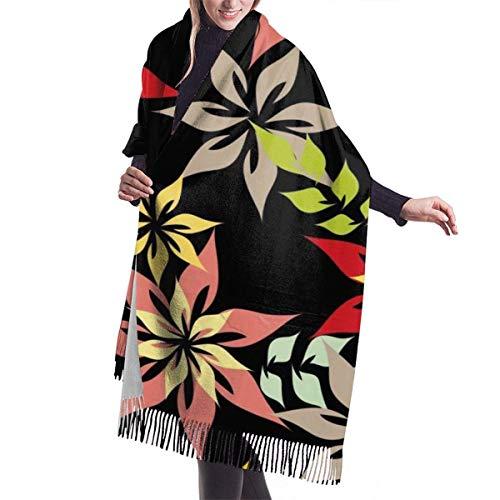 Vikimen Wickelschal Große Schals Fransenschal Cashmere scarf women Seamless Pattern Vector Floral Decorative scarf