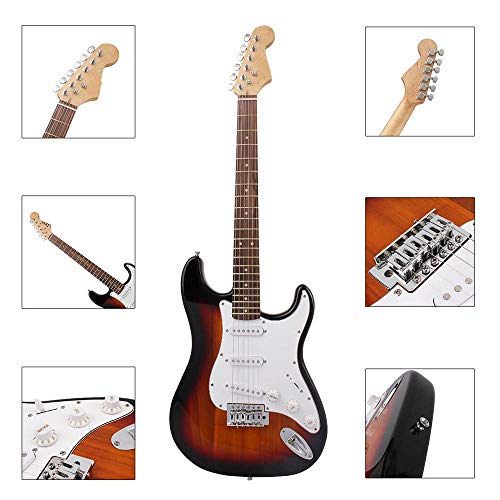 Yingm akoestische gitaar 38 inch met 6 snaren elektrische gitaar met gitaarbag/snoer/rocker/chiave/riem/riem/gitaarkabel, Acustica Bag gitaar voor kinderen