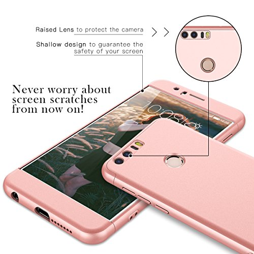 CE-Link für Huawei Honor 8 Hülle Hardcase 3 in 1 Ultra Dünn 360 Full Body Schutz Schutzhülle Anti-Kratzer Elegant Stoßfest Hart PC Skin Rückdeckel Glatte Rückseite Bumper Handyhülle - Rosegold - 2