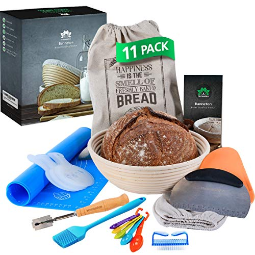 """HOMEADOW Bread Baking Kit- 11 Pcs- A Great Gift: Banneton Bread Proofing Basket Round 10"""", Liner, Bread Lame, Bench Scraper, Dough Scraper, Stencils, Silicone Baking Mat, Bread Bag, Pastry Basting Brush, Cleaning Brush 
