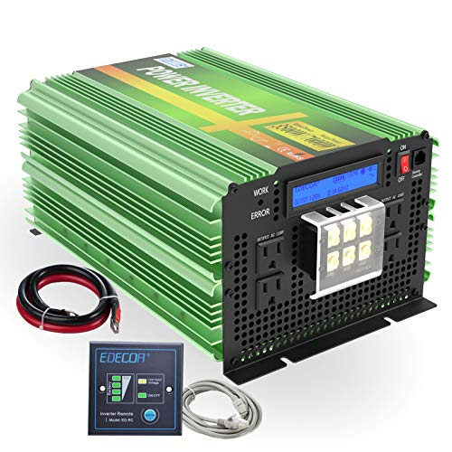 EDECOA Pure Sine Wave Power Inverter 3500 Watt DC 12V to AC 120V with LCD Display and Remote Controller 4 AC Outlets and 1 AC Terminal Block