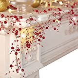 Collections Etc Indoor Christmas Decorations, Festive Lighted Berry Beaded Garland Red- 120' L