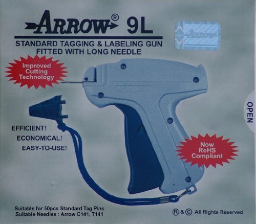 """Arrow 9L LONG NECK NEEDLE Tag Gun + 1 Extra Needle + 1000 (Size 75mm) (3"""") Barbs (Fasteners) Price Label Clothing Tagging Attacher with Steel Needle Combo"""