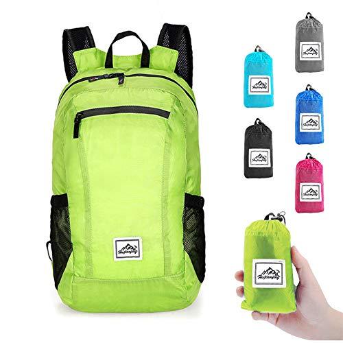 I IHAYNER Rucksack Herren Faltbarer Rucksäcke Rucksack Packable Daypack Rucksack 20L Damen Tasche Schule Ultraleicht Draussen Grün