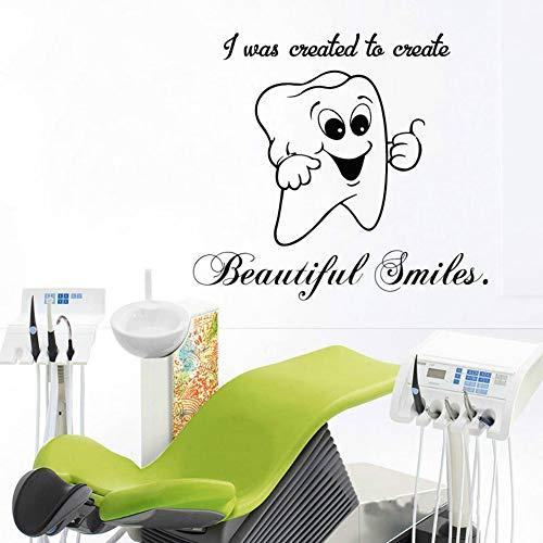 SLQUIET DIY Cute Smile Tooth Sticker Window Glass Funny Wall Decal para clínica dental baño dentista estomatología papel pintado pegatinas rojo M 46x42cm