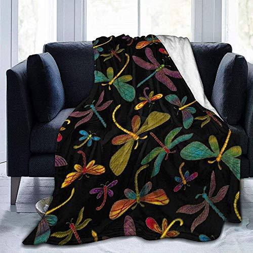 BBHAN Manta,Purple Dragonfly Cozy Ultra-Soft Flannel Warm Lightweight Sofa Bed Manta para Adultos Y Niños, para Todas Las Estaciones 204x153cm