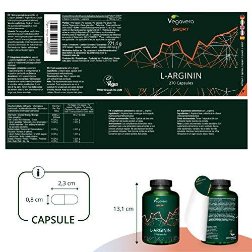 ARGININA Vegavero® Sport | 700 mg per capsula | SENZA ADDITIVI | 270 capsule per 3 MESI | PURA al 99% | Vegan