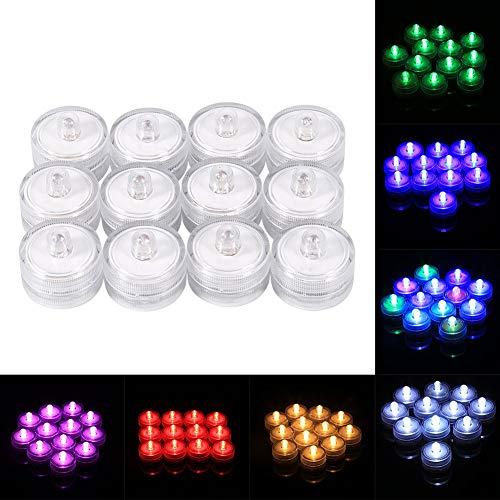 12 Stücke Teelichter, Realistische Helle Flammenlose LED Teelicht Tauchwasserdichte Batteriebetriebene Elektronische Teelicht für Hochzeit Weihnachtsfeier Decor(Bunt) (# A)