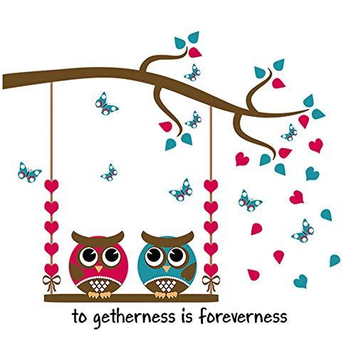 Adhesivo decorativo para pared, diseño de flores, dibujos animados, búhos, pájaros, ramas, vinilo extraíble, para dormitorio, salón, televisión, ventana, decoración