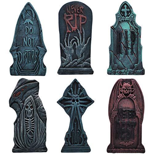 43 cm Lápida Sepulcral de Espuma para Halloween (6 Piezas), Lápida con Diferentes Estilos y Estacas de Metal Adicionales para Decoraciones de Jardín de Halloween ⭐