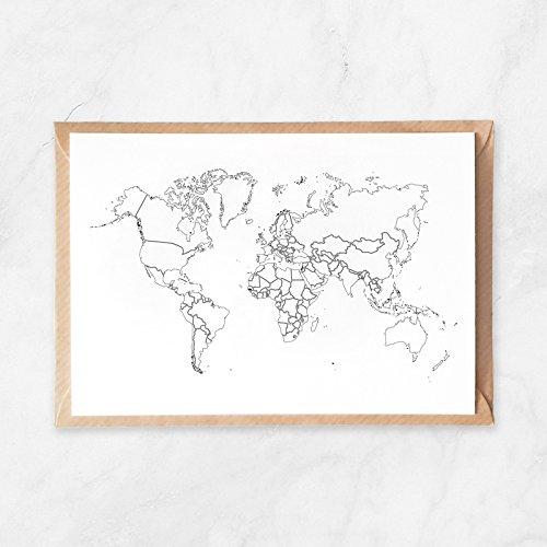 5 Stück, Postkarte zum Ausmalen, Weltkarte, Karte von der Welt, A6