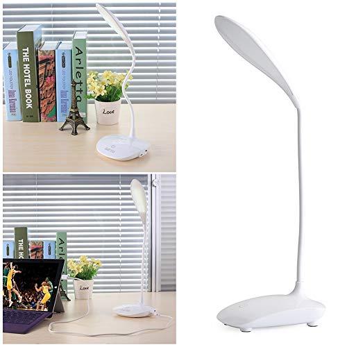 Lámpara De Escritorio LED, Lámpara De Mesa De Escritorio USB Recargable - Lámpara De Cuello De Cisne Flexible - Lámpara De Mesa Que Cuida Los Ojos con Luz - Control Táctil 3 Modos De Color