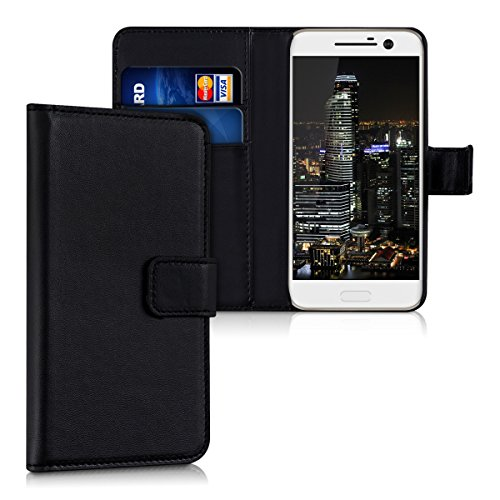 kwmobile Wallet Case Compatible with HTC 10 - PU Leather Flip Cover with Magnetic Closure, Card Slots and Kickstand - Black