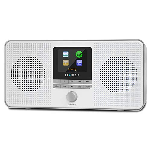 LEMEGA IR4 Portable Stereo Internet Radio,FM Digital Radio,WIFI,Spotify Connect,Bluetooth,Dual Alarms&Clock,Kitchen/Sleep/Snooze Timer,40 Pre-sets,Headphones,Built-in Battery and USB Powered-Cold Gray