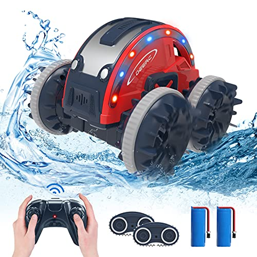 DEERC ラジコンカー 子供 ラジコン 水陸両用 防水 rcカー スタントカー リモコン おもちゃ オフロード バッテリー2個 四輪駆動 360°回転 2.4GHz無線 国内認証済み プレゼント 贈り物 K-08