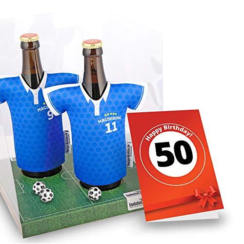 50. Geburtstag | Der Trikotkühler | Das Männergeschenk für MAGDEBURG-Fans | Langlebige Geschenkidee Ehe-Mann Freund Vater Geburtstag | Bier-Flaschenkühler by Ligakakao