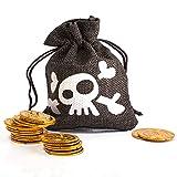 Pirate Treasure Bag Monedas de Oro Captain Pouch Skull Niños para Disfraz de Pirata