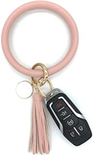 Bracelet Keychain with Tassel Leather Wristlet Keychain Bangle Key Ring Bracelet for Women and Girls