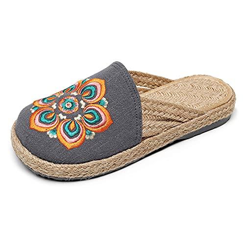 QIMITE Pantofole - Stile Creativo Cotone E Lino Pastorale Retro Pantofole Ricamate Etniche Donne Multicolore Morbido E Confortevole Sandali Baotou, Grigio,35