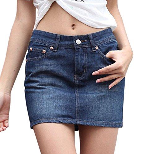 chouyatou Women's Casual Short Denim Skirt (XX-Large, Lblue)