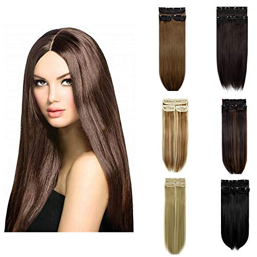"""KOLCY Clip in Hair Extensions Straight Clip on Synthetic Hair Extensions 18"""" 3PCS Hair Pieces for Women"""