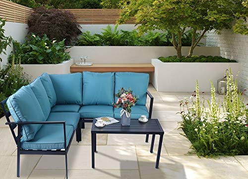 Kozyard 4 Pieces Outdoor Sofa Set with Strong Metal Frame and Comfortable Cushions, Perfect as Patio Furniture Conversation Sets, Garden Bistro Set (Aqua)