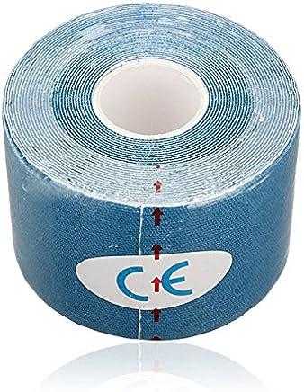 Sonline 1 rollo de Deportes Kinesiologia Musculos Cuidado Gimnasio Atletico 5M Cinta Salud * 5CM - Azul marino