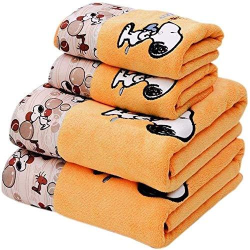 HSJJ Toalla Grande de Dibujos Animados Toalla de baño Snoopy, Toalla + Toalla de baño Juego de 2 Piezas Absorbente Suave 70 * 140CM