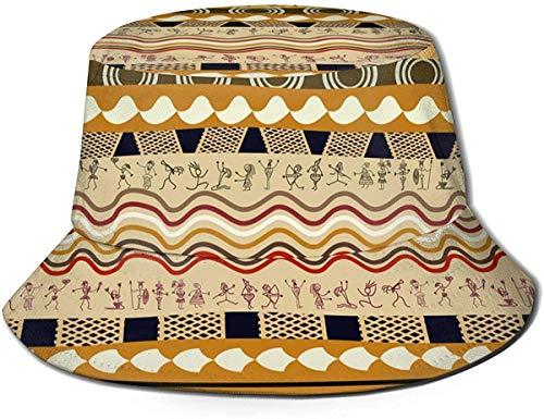 DUTRIX Sombrero de pescador con diseño floral africano sin costuras, unisex, para viajes al aire libre, playa, sombrero de sol