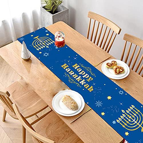 Hanukkah Table Runner, Navy Blue Ethnic Jewish Stars Printed Table Runner Cloth Chanukah Tablecloth Menorah Festival for Wedding Party Banquet Hanukkah Decoration 13 x 70 inches