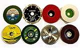 toolfi 8 Piece Combo Set of Grinding Wheel Angle Grinder Disc Cutting Polishing Buffing Wood Marble Stone Granite Steel Metal Plastic