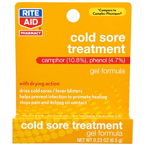 Rite Aid Cold Sore Treatment Gel with Drying Action - 0.23 oz | Cold Sore Medicine | Lip Care & Repair for Cold Sores & Fever Blisters | Itch & Pain Relief