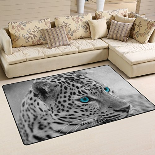 COOSUN zwart en wit Jaguar gebied tapijt anti-slip vloermat deurmatten voor woonkamer slaapkamer 31 x 20 inch