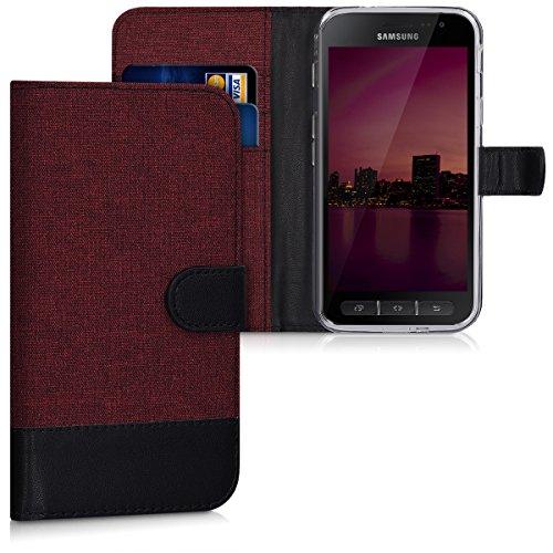 kwmobile Wallet Case kompatibel mit Samsung Galaxy Xcover 4 / 4S - Hülle mit Ständer - Handyhülle Kartenfächer Dunkelrot Schwarz
